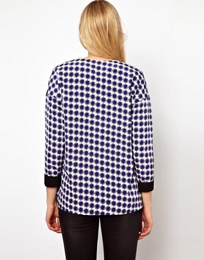 Image 2 ofASOS Maternity Blazer In Geo With Contrast Lapel