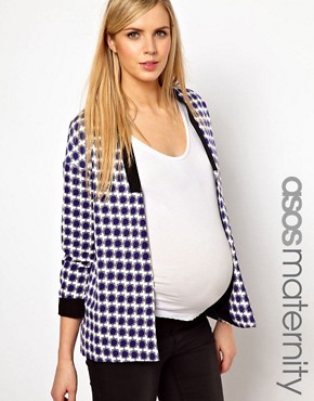 Image 1 ofASOS Maternity Blazer In Geo With Contrast Lapel