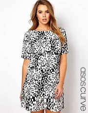 ASOS CURVE Shift Dress In Animal Print