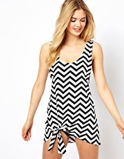 ASOS Chevron Print Knot Jersey Beach Dress
