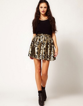 Image 1 ofRiver Island Gold Baroque Skater Skirt