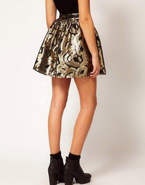 Image 2 ofRiver Island Gold Baroque Skater Skirt
