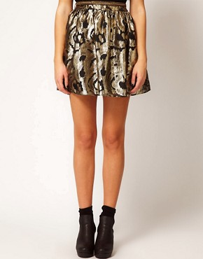 Image 4 ofRiver Island Gold Baroque Skater Skirt