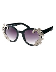 ASOS Round Sunglasses With Filigree Corner Detail