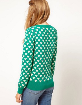 Image 2 ofA Wear Heart Jacquard Cardigan
