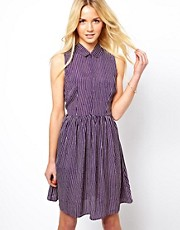 ASOS Shirt Dress with Pinstripe and Open Back