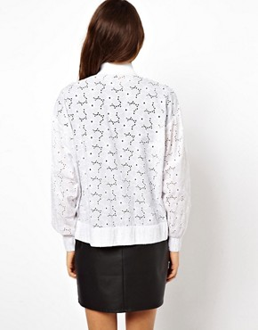 Image 2 ofASOS Bomber Jacket In Allover Broderie