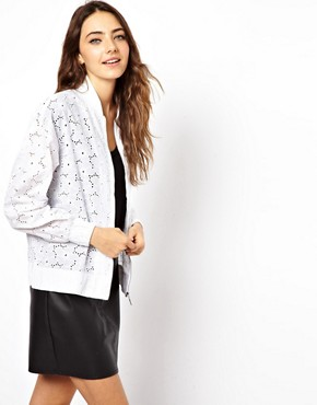 Image 1 ofASOS Bomber Jacket In Allover Broderie