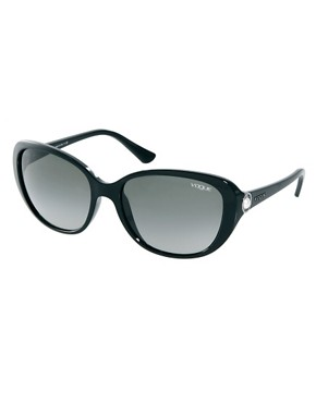 Image 1 ofVogue Black With Faux Pearl Sunglasses
