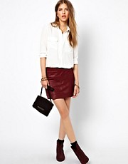 Ganni Leather Mini Skirt