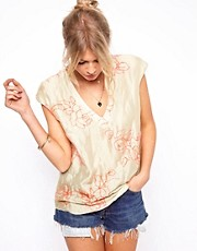 ASOS T-Shirt with Plunge Neck and Fluro Embroidery