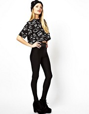 ASOS High Waist Leggings With Elastic Waist In Shimmer Effect