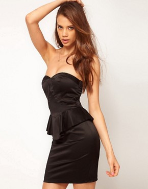 Image 1 ofASOS Bandeau Dress With Peplum
