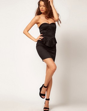 Image 4 ofASOS Bandeau Dress With Peplum