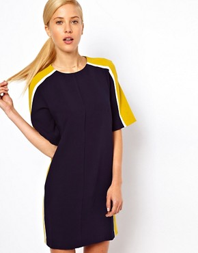 Image 1 ofASOS Shift Dress With Colour Block Sides
