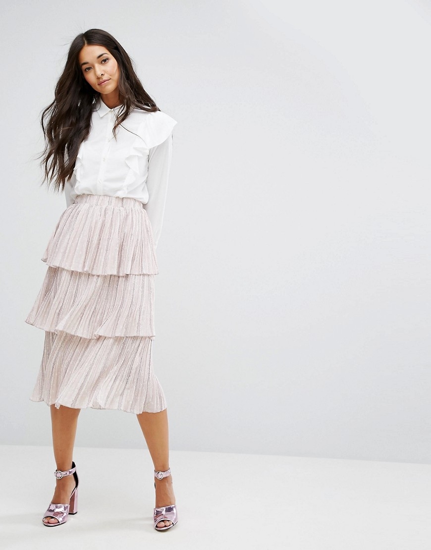 Lost Ink Tiered Pleated Skirt - Light pink