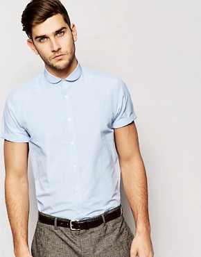 ASOS Smart Shirt With Short Sleeve And Cutaway Collar