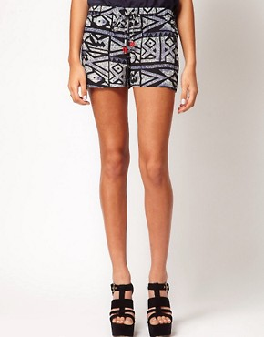 Image 4 ofRiver Island Aztec Print Short With Sequin Trim