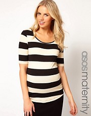 ASOS Maternity Exclusive Stretch Top In Wide Stripe