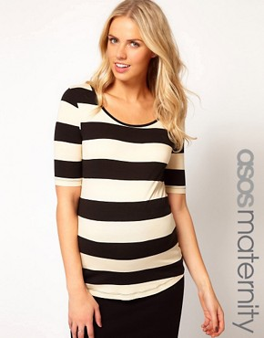 Image 1 ofASOS Maternity Exclusive Stretch Top In Wide Stripe