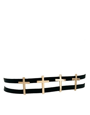 Image 1 ofASOS 4 Cross Elastic Waist Belt
