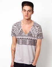 ASOS T-Shirt With V Neck And Aztec Print