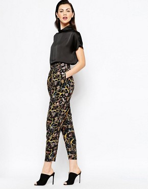 Monki Dark Floral Peg Leg Pant