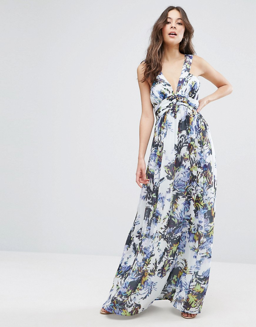French Connection Kiki Palm Printed Maxi Dress - Brule multi