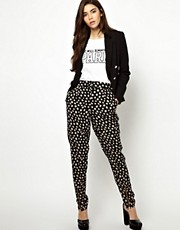 ASOS Peg Trousers in Daisy with Zip Detail