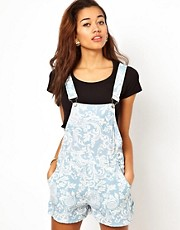 Motel Demi Dungarees In Paisley Print