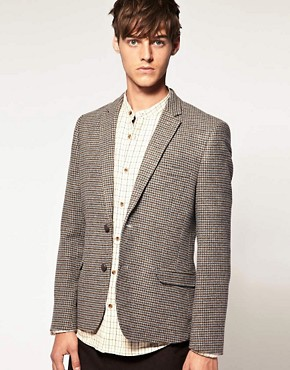 Image 1 ofASOS Slim Fit Tweed Check Blazer