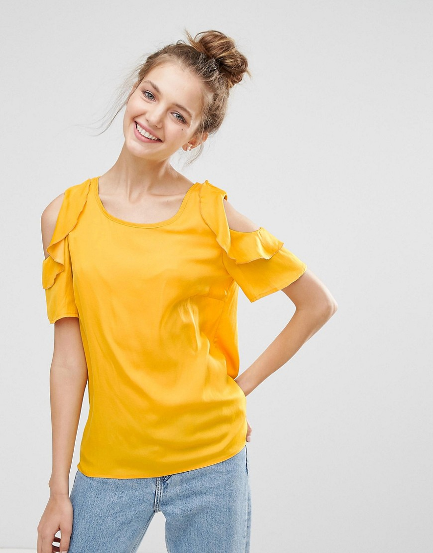 b.Young Ruffle Sleeve Top - Autumn gold