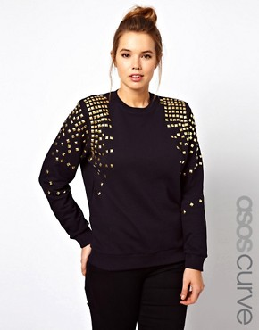 Image 1 ofASOS CURVE Jumper with Stud Shoulders