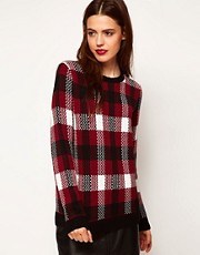ASOS Jumper In Burgundy Check
