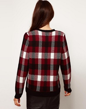 Image 2 ofASOS Jumper In Burgundy Check