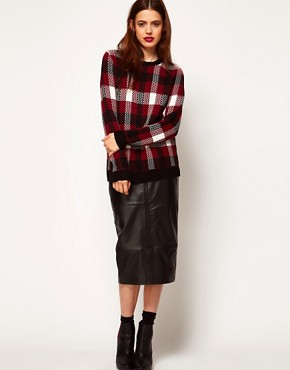 Image 4 ofASOS Jumper In Burgundy Check