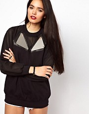 The Ragged Priest Sweatshirt with Mesh Sleeve and Mirror Plate
