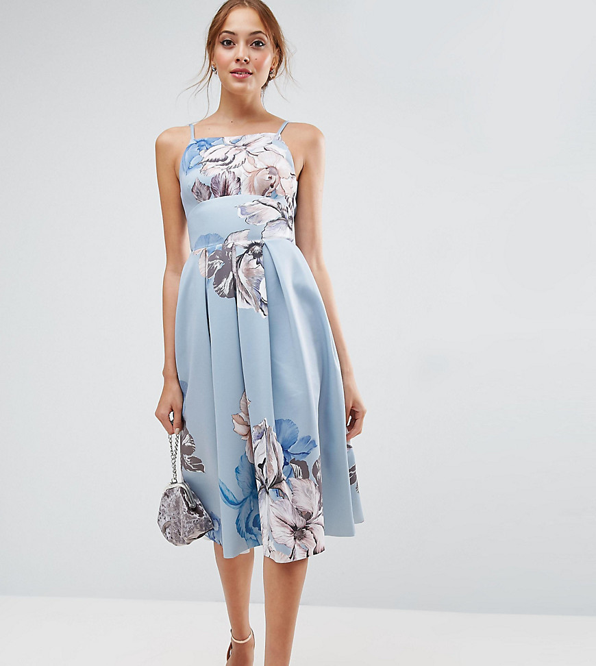 ASOS TALL Strappy Pinny Floral Midi Debutante Dress