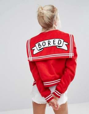 Lazy Oaf Varsity Jacket With Bored Badge