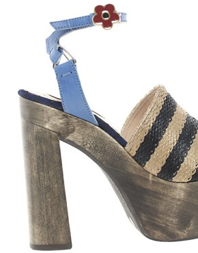 Image 2 ofOpening Ceremony Jungle 5 Rafia Stripe Heeled Sandals