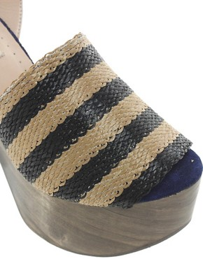 Image 3 ofOpening Ceremony Jungle 5 Rafia Stripe Heeled Sandals