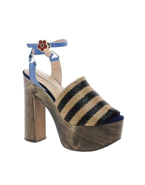 Image 1 ofOpening Ceremony Jungle 5 Rafia Stripe Heeled Sandals