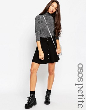 ASOS PETITE Mini Skater Skirt with Poppers