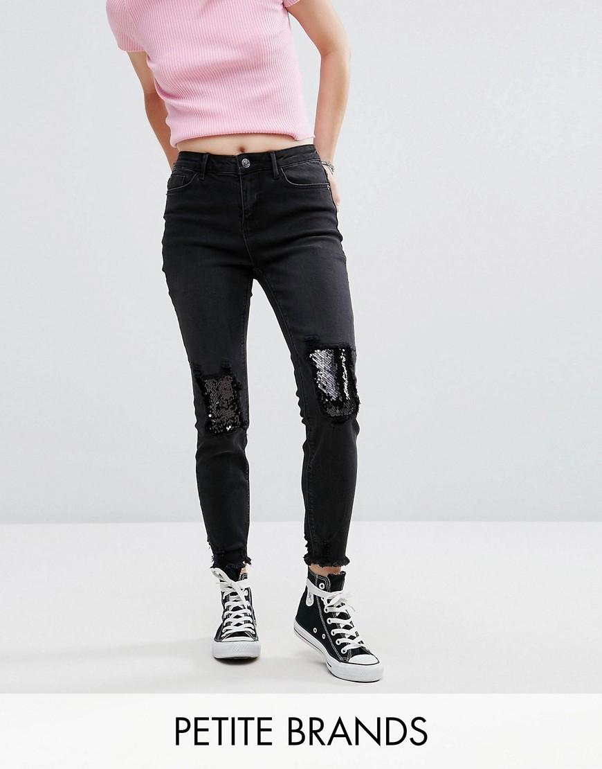 New Look Petite Sequin Knee Fray Hem Jeans - Black