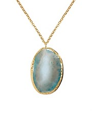Kasturjewels 22kt Gold Plated Necklace with Natural Stone Agate