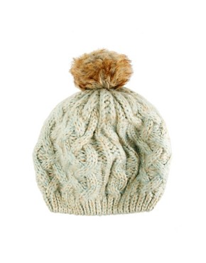 Image 2 ofWarehouse Knitted Hat with Fur Bobble