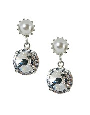 Krystal Pearl and Swarovski Crystal Drop Earrings