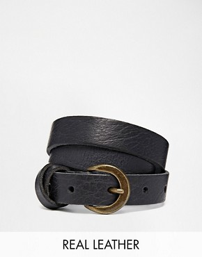 Asos ASOS Leather Waist Belt With Cross Detail