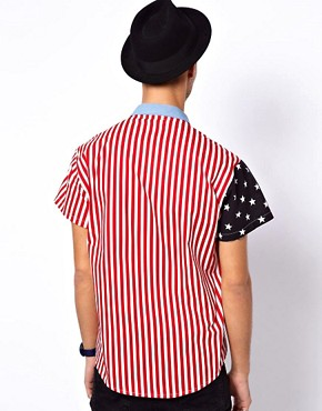 Image 2 ofReclaimed Vintage Shirt with American Flag Print