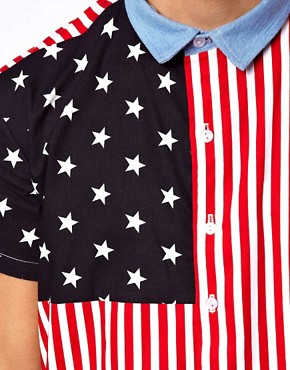 Image 3 ofReclaimed Vintage Shirt with American Flag Print